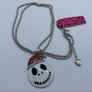 BETSEY JOHNSON skull w/ red Santa hat necklace